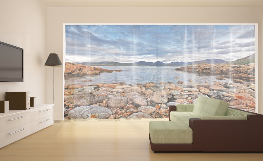 Mountain Lake Wonder-view photo curtain in living room
